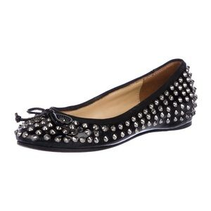 Christian Louboutin spiked patent leather flats